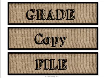 Burlap Drawer Labels