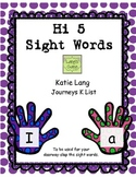 Hi 5 Sight Words for Posting Kindergarten Word List