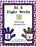 Hi 5 Sight Words for Posting Kindergarten Word List