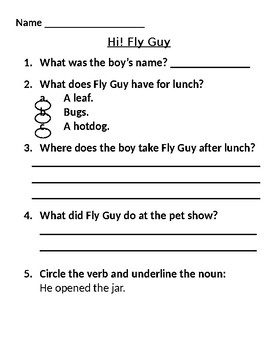 Hi! Fly Guy Comprehension Questions
