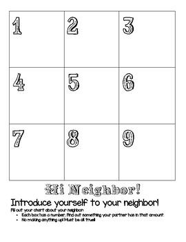 Hi Neighbor! Math Get to Know You