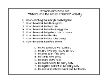Hi There Small Bear: Noun/Verb Phrases, Prepositions, Following Directions FREE