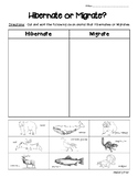 Hibernate or Migrate? Science Sorting Worksheet w/picture cards