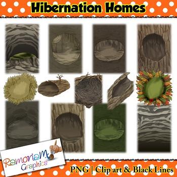 Hibernating Animal Homes Clip art by RamonaM Graphics | TpT