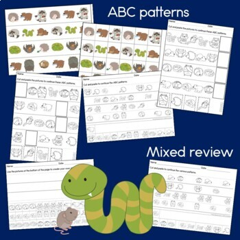 Hibernating Animal Patterns Math Center with AB, ABC, AAB & ABB patterns