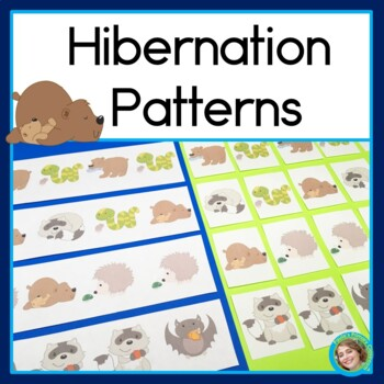 Hibernating Animal Patterns Math Center with AB, ABC, AAB