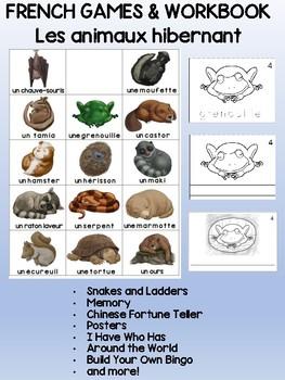 Hibernating Animals / L'hibernation FRENCH Workbook & Games Combo