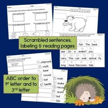 Hibernating Animals Sentence Picture Match Reading Center