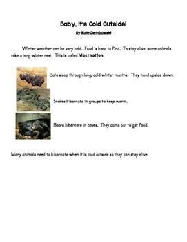 Hibernating Nonfiction Article with Main Idea