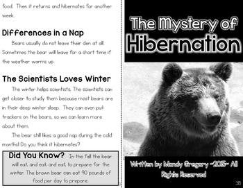 Hibernation: A Differentiated Nonfiction Resource for 3rd Grade