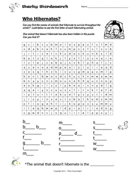 Hibernation Animals Higher Level Word Search Activity