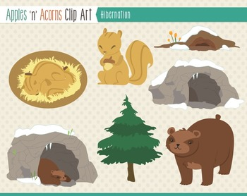 Hibernation Clip Art - color and outlines