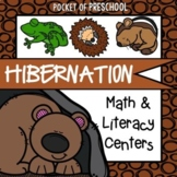 Hibernation Math and Literacy Centers for Preschool, Pre-K, and Kindergarten