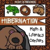 Hibernation Math and Literacy Centers for Preschool, Pre-K