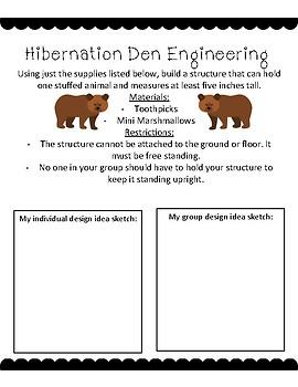 Hibernation STEM Project Printable Activity