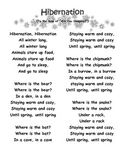 Hibernation Song and Worksheet