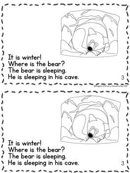 Hibernation Themed Emergent Reader