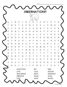 Hibernation Word Search!