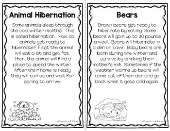 Hibernation and Migration - Nonfiction Passages and Printables