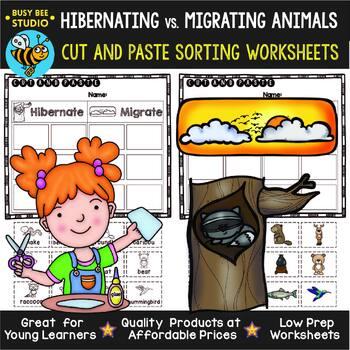 Hibernation and Migration Sorting Worksheets | Cut and Paste