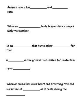 Hibernation vocabulary Activity