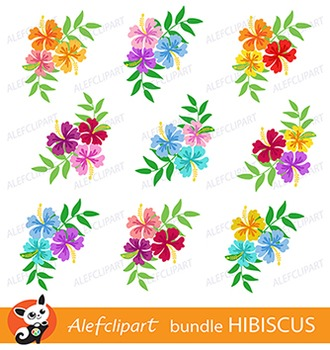 Hibiscus Bundle Digital Clipart, Hawaiian Flower Clipart