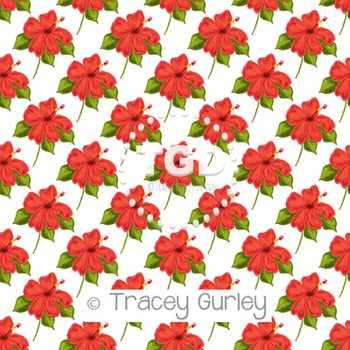 Hibiscus - Coral on White digital paper Printable Tracey G