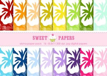 Hibiscus Digital Paper Pack - by Sweet Papers