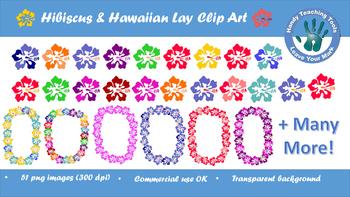 Hibiscus & Hawaiian Lei Clip Art