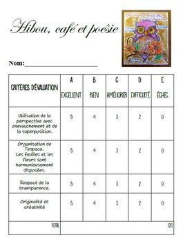 Arts plastiques: Hibou, café et poésie, automne, plan de cours en français