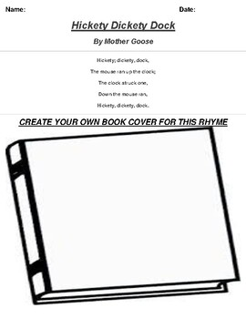 Hickety Dickety Dock by Mother Goose Rhyme Book Cover Worksheet