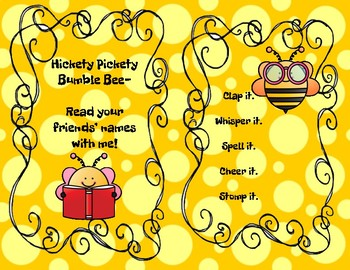 Hickety Pickety Bumble Bee: Classroom Community Building