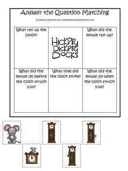 Hickory Dickory Dock Answer the Question preschool printable educational game.