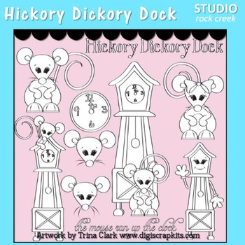 Hickory Dickory Dock Clip Art line drawing pers & comm use Nursery Rhyme T Clark