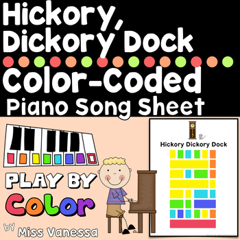Hickory Dickory Dock Color-Coded Easy To Play Piano Song Sheet