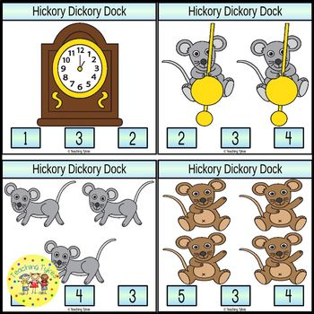 Hickory Dickory Dock Count and Clip Task Cards