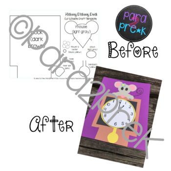 Nursery Rhymes Hickory Dickory Dock Cut and Paste Craft Template