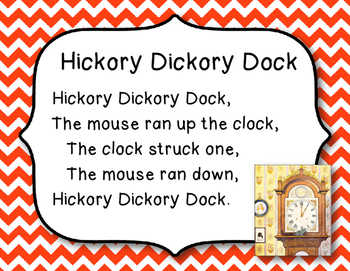 Hickory Dickory Dock, Mother Goose Nursery Rhyme - with History, Student Sheet