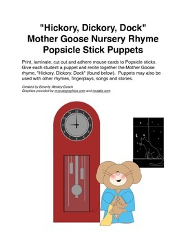 """""""Hickory, Dickory, Dock"""" Mother Goose Nursey Rhyme Popsicle Stick Puppets"""
