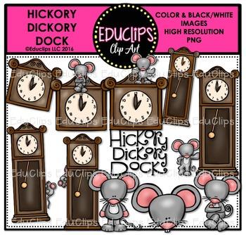 Hickory Dickory Dock Nursery Rhyme Clip Art Bundle {Educlips Clipart}