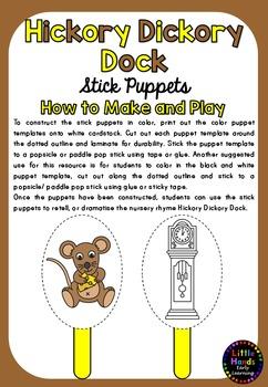 Hickory Dickory Dock Nursery Rhyme Puppets