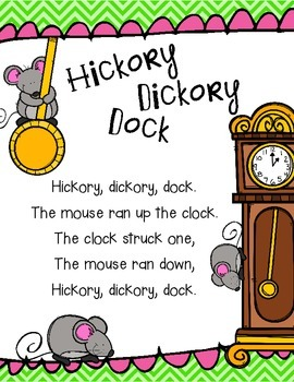 Hickory Dickory Dock Poem and Emergent Reader
