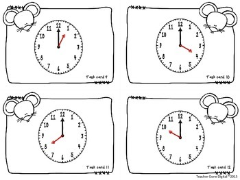 Hickory Dickory Dock Telling Time Task Cards, Scoot and Game