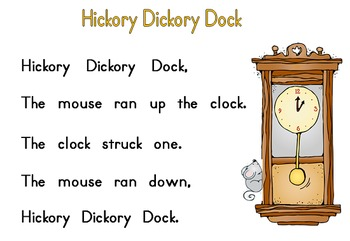 Hickory Dickory Dock Word to Word Match-up & Telling Time Song