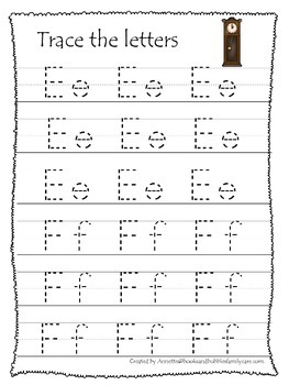 Hickory Dickory Dock themed A-Z Tracing preschool writing practice worksheets.