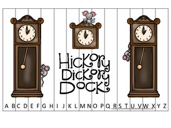 Hickory Dickory Dock themed Alphabet Sequence Puzzle preschool educational game.