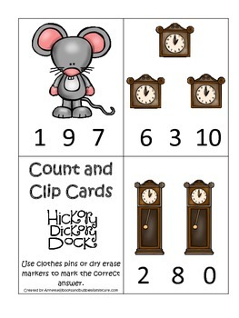 Hickory Dickory Dock themed Count and Clip Cards child math curriculum activity.