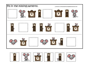 Hickory Dickory Dock themed Fill in the Missing Pattern preschool printable.