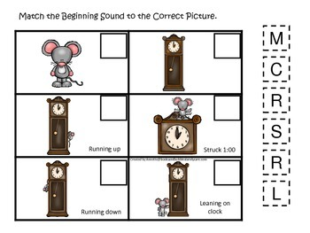 Hickory Dickory Dock themed Match the Beginning Sound preschool educational game
