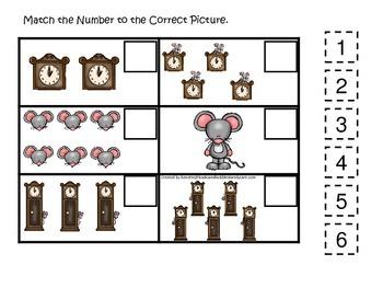 Hickory Dickory Dock themed Match the Number preschool printable. Homeschool